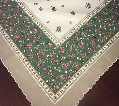Vintage Shabby Tablecloth Pink Roses Green Scalloped Edge Pretty
