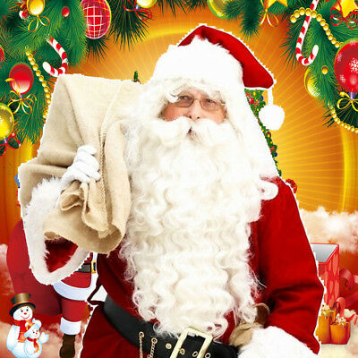 Unique Santa Claus Father Christmas White Wig Beard Adult Xmas Fancy Dress CH