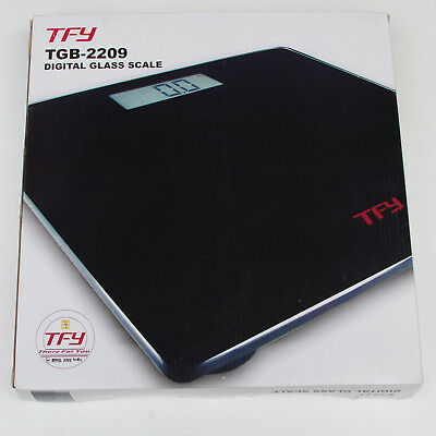 TFY Wide Platform Electronic Digital Glass Body Bathroom Scale 180kg capacity
