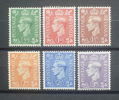 GB 1941 GV1 Definitives Stamps Set~Light Colours~(6)~Unmounted Mint ~UK Seller