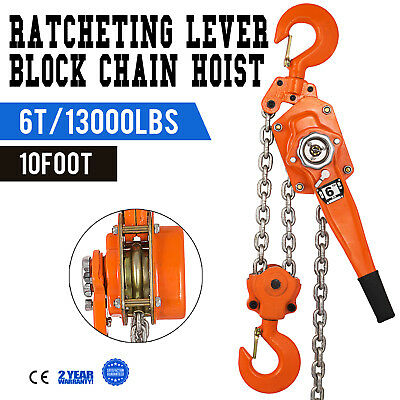 6TON 10FT RATCHETING Lever Block Chain Hoist Ratchet Puller Lifting  Construction