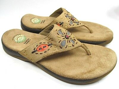 2bd63e725 EARTH SHOE Tan Suede Beaded Thong Sandals Size 9.5 Aztec Southwest Beaded  Pike