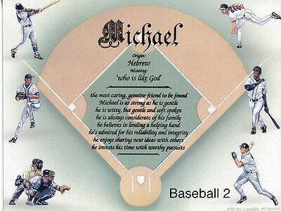Boy/Male Child Sports Name Meaning Prints (12 Backgrounds) Personalized