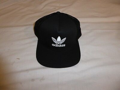 Adidas Baseball Cap Trucker Mesh Hat Black With Trefoil One Size Fits All - New