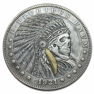 Hobo Nickel Coin Morgan Dollar Indian Chief Gold Hand Engraved Gediminas Palsis