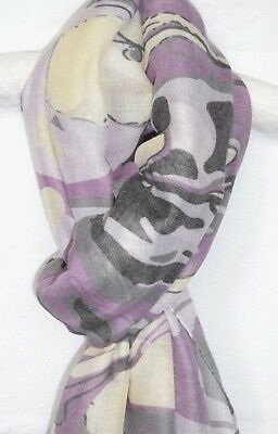 Graphite Lilac Magenta /& Blue Sheer Scarf W Roses /& Leopard Print Ladies/' S166