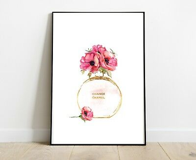 Coco Chanel Chance Perfume Bottle Print Poppy Flowers For Home Decor Gift A4
