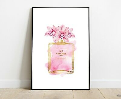 Coco Chanel Art Perfume Bottle Print For Home Decor A4 Pink Gold