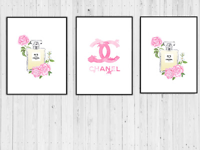 Set Of 3 Chanel Art Prints Perfume Bottle Pink Roses A4