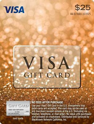 """$25 Visa Card """"No Hidden Fees After Purchase"""" Brand New"""