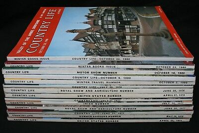 Country Life Magazine x 14 Issues from years 1975 1977 1978 and 1980