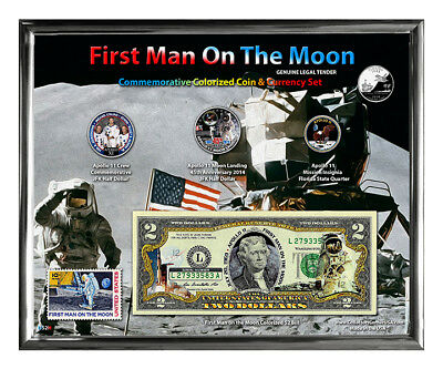 """First Man On The Moon Colorized 45th Anniversary Set w/ Stamp in 8"""" x 10"""" Frame"""