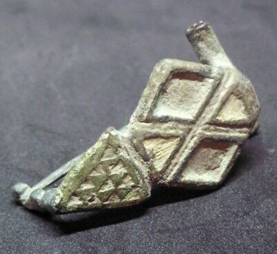 Rare Ancient Roman Enameled Bronze Fibula Brooch - Complete - Beautiful
