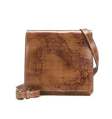 Patricia Nash Granada Leather Crossbody Signature Map Print Collection Rust NWT
