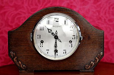 Vintage Art Deco 'Bravingtons Renown' Oak Mantel Clock with Westminster Chimes