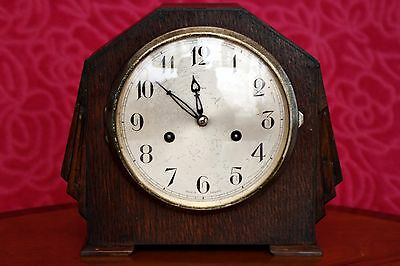 Antique 'Enfield' 8-Day Oak Mantel Clock with Chimes