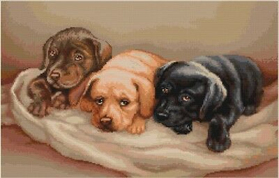 3 Puppies on a Blanket Dog Cross Stitch Chart Digital Format