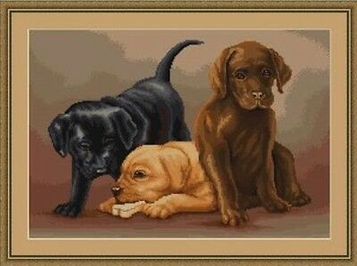 3 Puppies with a Bone Dog Cross Stitch Chart Digital Format