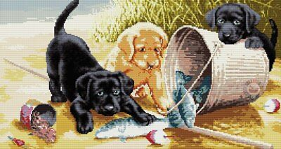 Fishing Friends Puppies Cross Stitch Chart