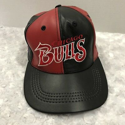 10df64204d41b9 VINTAGE Chicago Bulls Hat Snapback Cap Mens 90s 1996 NBA Basketball Leather  VTG