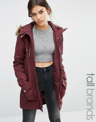 fd3ffbdf3 NOISY MAY COAT with Faux Leather Coller from ASOS sz 10 NWT ...