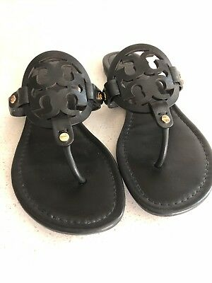 f3b2d524cd9f Tory Burch Miller Matte Black Leather Sandals Flip Flops Women s Size 9