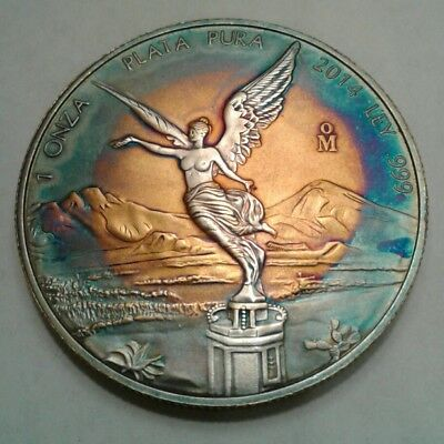 2014 - Mexican Libertad 1oz Silver Coin With Beautiful  Toning, Toned