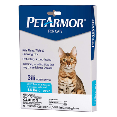PETARMOR for Cats, Flea & Tick Treatment Over 1.5 Pounds Includes 3 Month Supply