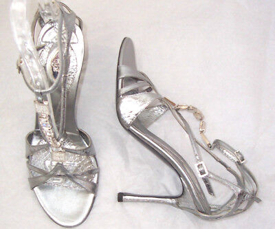 86dbd2b9ba4 VERSACE SILVER LEATHER Snake Crystal Caged Sandals Shoes 38 8