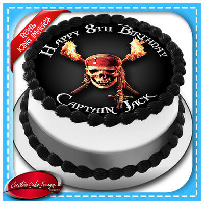 Pirate Skull Cross Bone Edible Cake Topper Icing Image Birthday Party Decoration