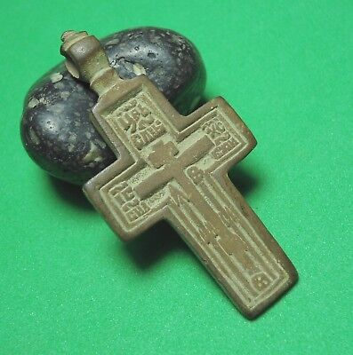 Ancient Bronze Cross Wearable Pendant Antique Rare C112