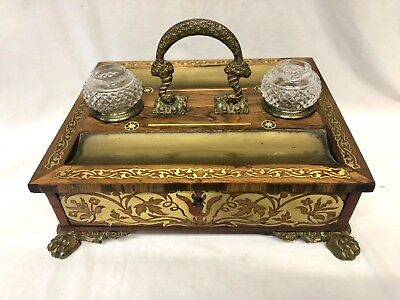 Antique REGENCY Boulle Style Rosewood Brass Inlaid Ink & Pen Stand Inkwell