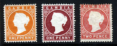 GAMBIA QV 1880-1 Embossed Watermark Crown CC Upright Group SG 11B to SG 13B MINT