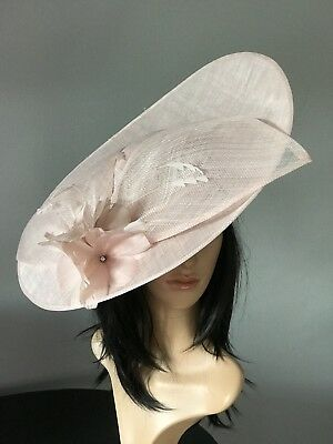 Pale Pink Wedding Ascot Hat Disc Hatinator Occasion Mother Of The Bride