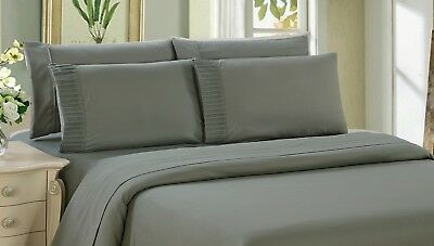 Bamboo 6 Piece Bedding Super Soft Wrinkle Free Sheet Set, Double Full, Grey