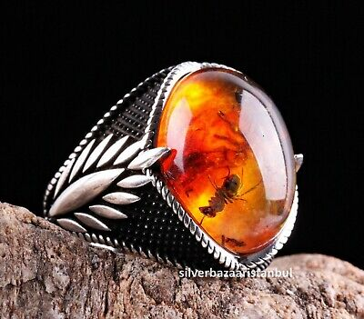 Turkish 925 Sterling Silver orange fossil amber stone Mens ring ALL SİZE us 2