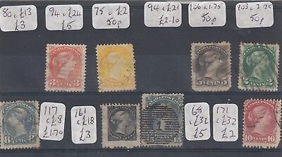 Canada QV Collection Of 8 Values VFU J4017