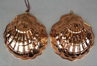 Pair / two vintage hanging scallop shell jelly moulds. Copper tone, tin lined.