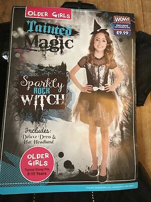 Halloween Costumes 8-10 Sparkly Rock Witch  girls (Dress & Hat headband )