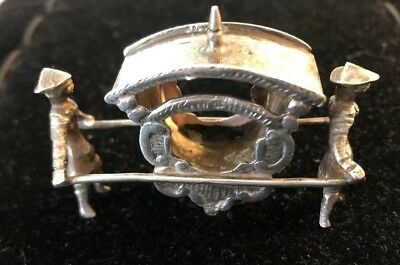 Antique Miniature Dutch Silver Carriage W/2 Men