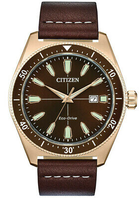 Citizen Eco Drive AW1593-06X 43mm Brown Dial Leather Band Solar Date Men's Watch