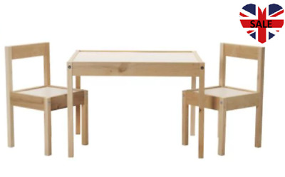 Latt Children S Table With 2 Chairs Wooden Pine Wood Kids Furniture Set New