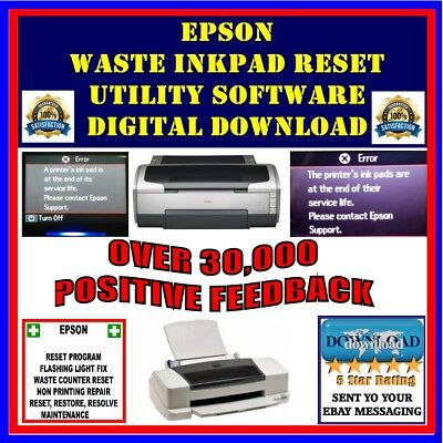 Epson Stylus Waste InkPad Counter Error Reset/Fix Software FAST DIGITAL DELIVERY