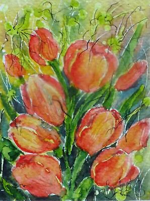 ACEO tulips flowers original watercolor painting mini picture by Europe artist