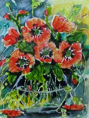 ACEO poppies flowers original watercolor painting cards picture by Europe artist