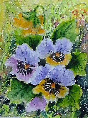 ACEO PANSIES flowers cards original watercolor painting picture by Europe artist