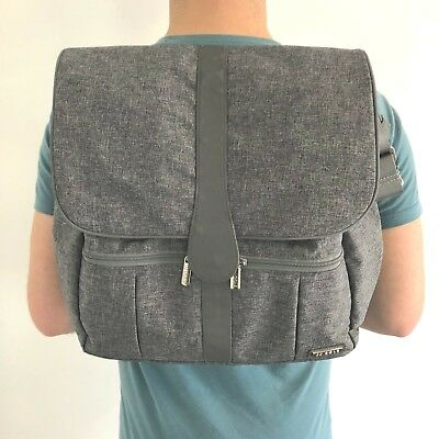 3cdb0fcd94a JJ Cole Backpack Messenger Diaper Bag Baby Heather Grey Pockets Snap Front  Pad