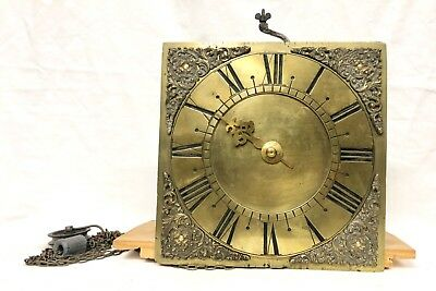 Antique Bird Cage Single Finger Brass Longcase Grandfather Clock Dial & Movement