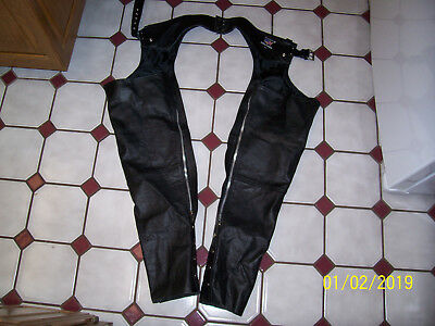 """Black Leather Motorcycle Chaps Size XS 43"""" Long - ALLSTATE LEATHER CO."""