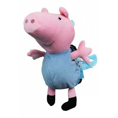 """Peppa Pig George 10""""-11"""" Blue shirt Plush Backpack Tote-Licensed Product--NEW!"""